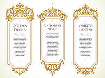 Vector set frames, vignette in Victorian style. Royalty Free Stock Photos