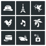 Vector Set of France Icons. Army, Paris, Tower, Romantic, Rooster, Music, Legion, Aircraft Carrier, Perfume. Stock Images