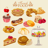 Vector set of French cuisine. National food of France. Icons for menu. Background for menu, cafeteria, cafe, restaurant with french cuisine Royalty Free Stock Photos