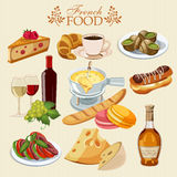 Vector set of French cuisine. National food of France. Icons for menu. Background for menu, cafeteria, cafe, restaurant with french cuisine Stock Images
