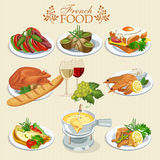 Vector set of French cuisine. National food of France. Icons for menu stock illustration