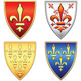 vector Set French shields with arms of the fleur Royalty Free Stock Photos