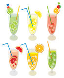 Vector set of fresh, fruit, alcoholic drink. Mojito cocktails with lemon, lime, orange, grapefruit and kiwi, isolated Stock Photos