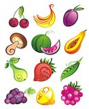 Vector set of fresh fruits,vegetables and berries Stock Photo