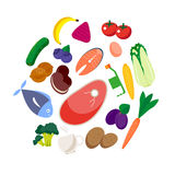 Vector set of fresh and health food icons and elements. Royalty Free Stock Photo