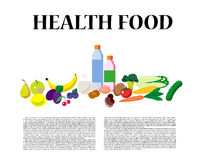 Vector set of fresh and health food icons and elements. Stock Photo