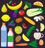 Vector set of fresh and health food icons and elements. Stock Image