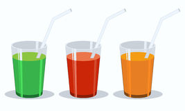 Vector set of fresh vegetable juices. Green, red, orange flat. Stock Images
