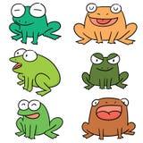 Vector set of frog. Hand drawn cartoon, doodle illustration stock illustration