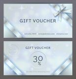 Vector set of front and back sides of luxury gift voucher with silver ribbons, bows. Isolated Elegant sparkling, shining template stock illustration