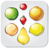 Vector set of fruit buttons. stock illustration