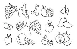 The vector set of fruit drawing Royalty Free Stock Photos