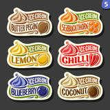 Vector set of fruit Ice Cream labels Stock Photo