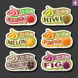 Vector set of fruit Ice Cream labels Royalty Free Stock Image