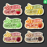 Vector set of fruit Ice Cream labels Stock Image