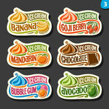 Vector set of fruit Ice Cream labels. 6 logos of different flavor italian icecream dessert, six art icons with title - ice cream, on black background, soft royalty free illustration