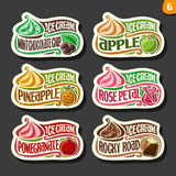 Vector set of fruit Ice Cream labels Stock Images