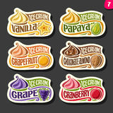 Vector set of fruit Ice Cream labels. 6 logos of different flavor italian icecream dessert, six art icons with title - ice cream, on black background, soft stock illustration