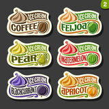 Vector set of fruit Ice Cream labels Royalty Free Stock Photo