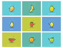 Vector set of fruit icons, cute cartoon food characters, baby meal illustration Royalty Free Stock Photo