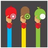 Vector set fruit kiwi pomegranate guava illustration icon arm an Royalty Free Stock Photos