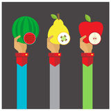 Vector set fruit Melons, apples, pears icon hand and arm long Royalty Free Stock Photo