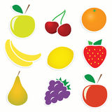 Vector set of fruit stickers Royalty Free Stock Photos