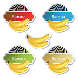 vector set of fruit stickers - banana Stock Image