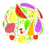 Vector set of fruit and vegetables in hand drawn cartoon style. Vegetarian concept royalty free illustration