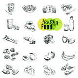 Vector set of fruit and vegetables Royalty Free Stock Images