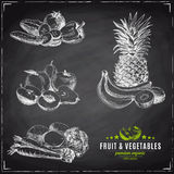 Vector set of fruit and vegetables. Royalty Free Stock Images
