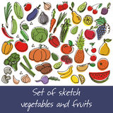 Vector set of fruit and vegetables Stock Photo