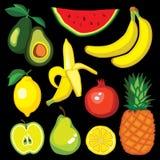 Vector set with fruits: avocado, watermelon, banana, lemon, pomegranate, apple, pear, pineapple Royalty Free Stock Photo