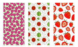 Vector set, fruits seamless patterns Stock Photo