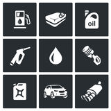 Vector Set of Fuel Icons. Petrol station, gasoline tank, Machine oil, filling pistol, piston engine, canister, car Stock Photo
