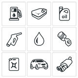 Vector Set of Fuel Icons. Petrol station, gasoline tank, Machine oil, filling pistol, piston engine, canister, car. Refuelling the auto, equipment and capacity Stock Photo