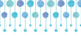 Vector Set of Fun Blue Bay Boy Birthday Party Paper Pom Poms and Beads Set Horizontal Seamless Repeat Border Pattern Stock Image