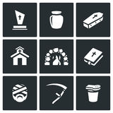 Vector Set of Funeral Icons. Burial Stock Photos
