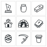 Vector Set of Funeral Icons. Stock Photos