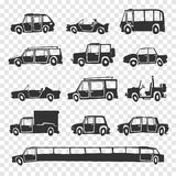 Vector set of funny cartoon car. Stock Images