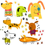 Vector set of funny cartoon dogs Stock Photo