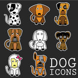 Vector set of funny cartoon dogs Royalty Free Stock Images