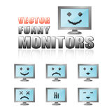 Vector set of funny cartoon monitors Stock Images