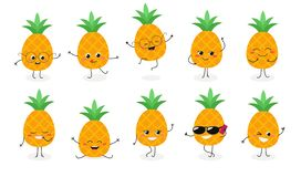Pineapple emoticon N2 stock illustration