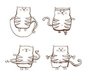 Set of cute fitness cats Royalty Free Stock Image