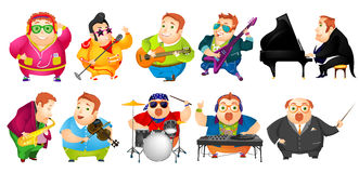 Vector set of funny fat man music illustrations. Set of cheerful fat man conducting with baton, listening music, singing, playing guitar, saxophone, piano Stock Photography
