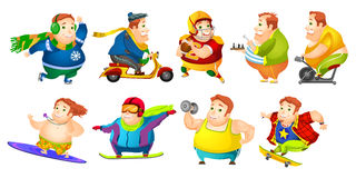 Vector set of funny fat man sport illustrations. Set of illustrations of fat man wearing sports uniform. Plump man playing rugby, chess. Fat man lifting barbell Royalty Free Stock Image
