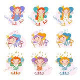 Vector set of funny girls fairies. Fairy girls Royalty Free Stock Images