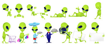 Vector set of funny green aliens illustrations. Royalty Free Stock Image