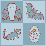 Vector set of funny Halloween monsters. Art for print Royalty Free Stock Photography